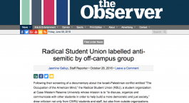 Student group at Case Western labelled 'anti-Semitic' for screening film about media coverage of Israeli policy